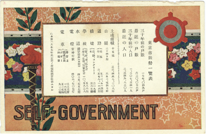 Commemorative postcard, Tokyo self-government 30th anniversary, 1918.