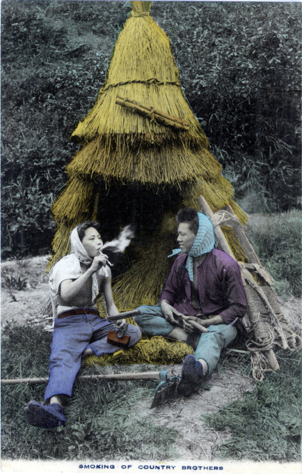 Smoking of country brothers, c. 1910.