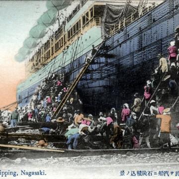 Ship coaling, Nagasaki, c. 1910.