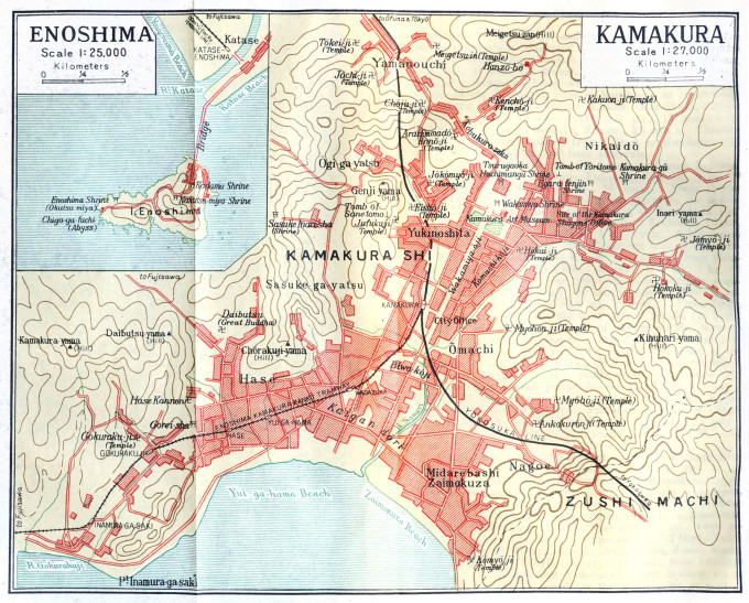 Map: Kamakura and Enoshima (inset). (Source: Japan: The Official Guide, 1952.)