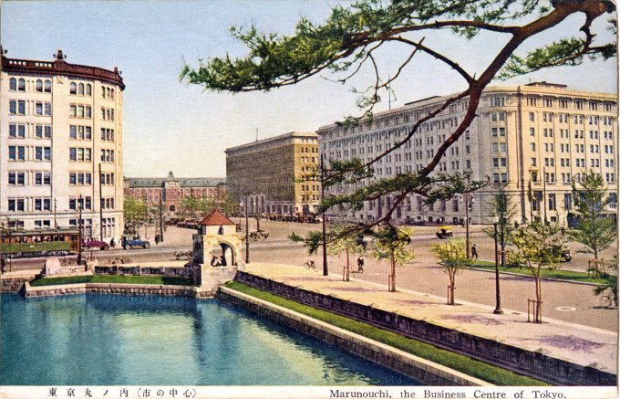 Left to right: Kaijo Building, Tokyo Station, Marunouchi Building, Yusen Building, c. 1930.