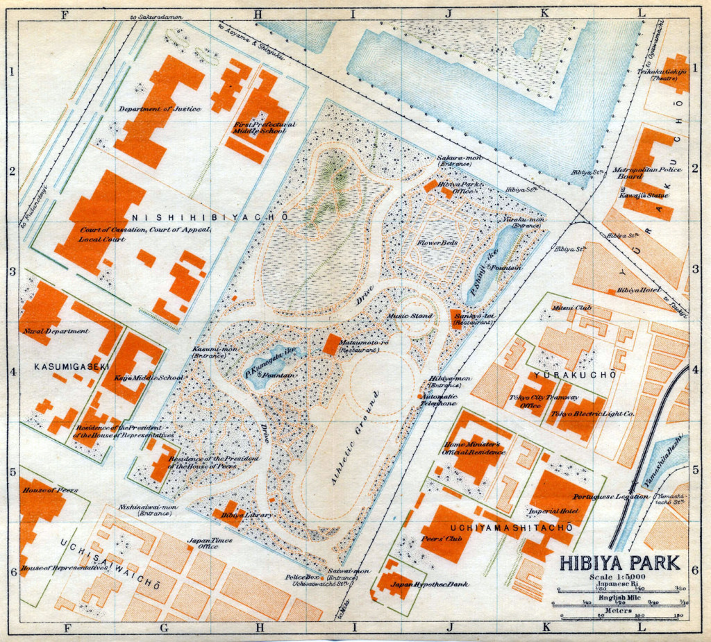 Map: Hibiya Park, c. 1920.