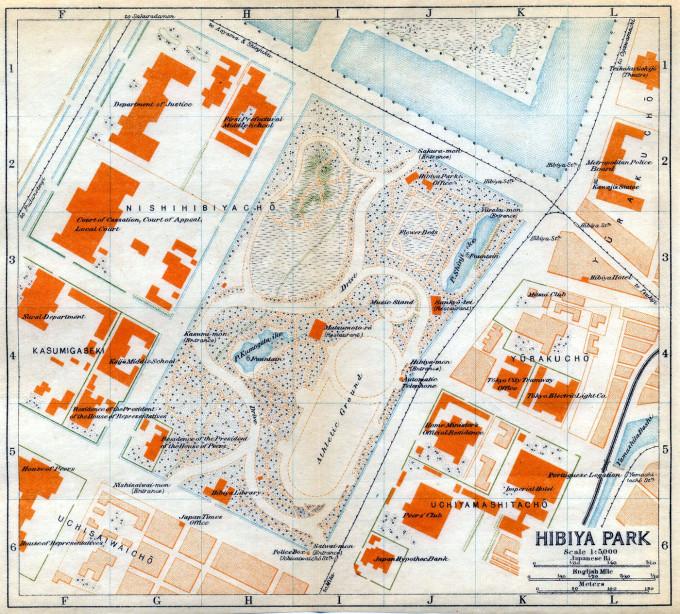 Map: Hibiya Park, c. 1920.