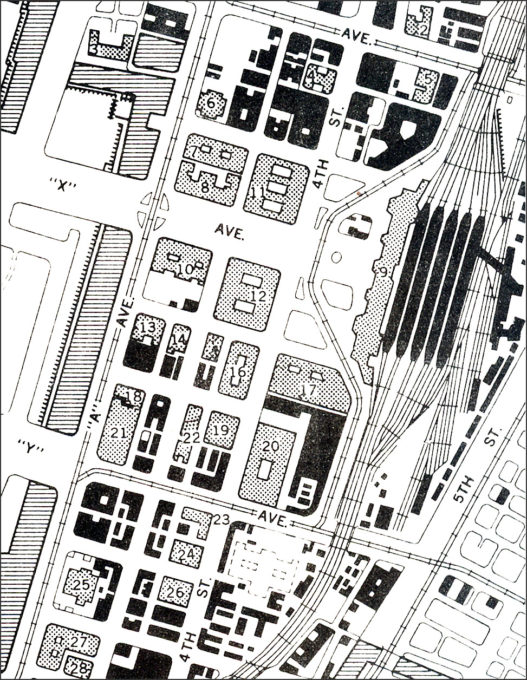Map: Tokyo Central Station and the Marunouchi business district, c. 1952.
