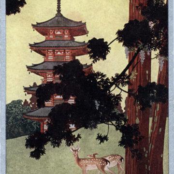 Japan Travel Bureau advertising postcard for Nara, Japan, c. 1920.