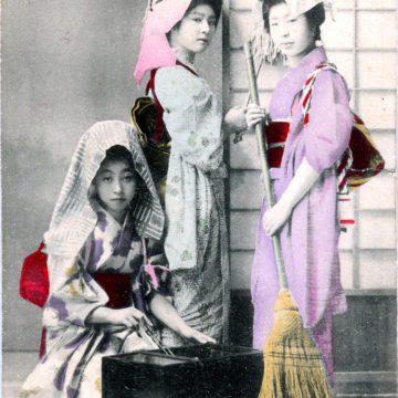 Three shikomi (maid apprentices), c. 1910.