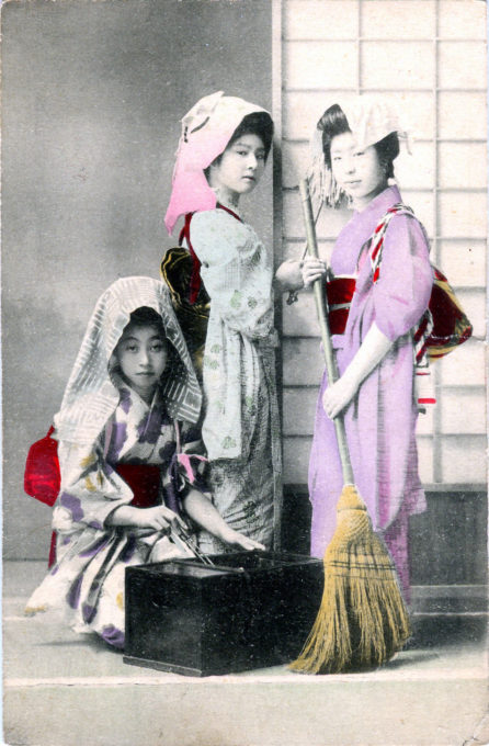 Three shikomi (maid apprentices), c. 1910.