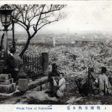 """Whole View of Yokohama, c. 1910, from atop the """"100 Steps""""."""