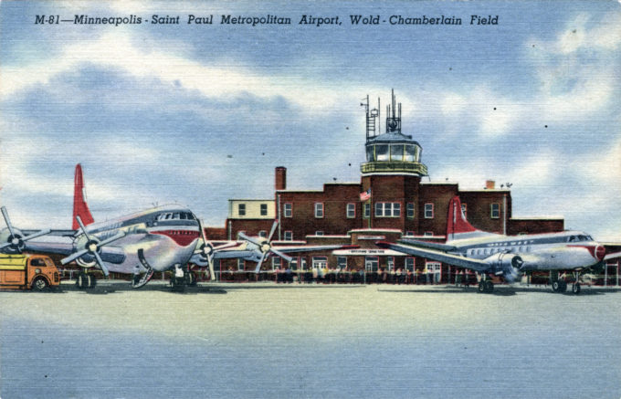 "Minneapolis-St. Paul Wold-Chamberlain Field, c. 1949, depicting a NWA B-377 ""Stratocruiser"" and DC-4 in the ""red tail"" livery."