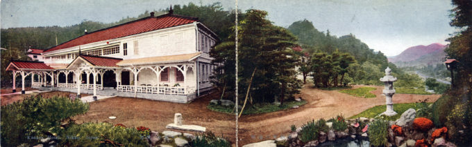 Panoramic view of the Kanaya Hotel, Nikko, and surrounding grounds, c. 1920.