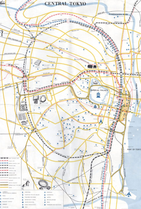 Tokyo tourist map, 1964. With Olympic venue locations.