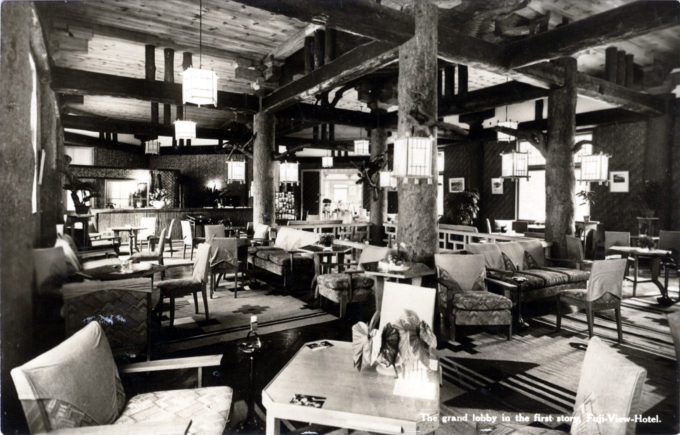 The Grand Lobby, Fuji View Hotel, Hakone, c. 1950.