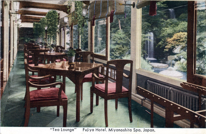 Tea Lounge, Miyanoshita Fujiya Hotel, c. 1930.