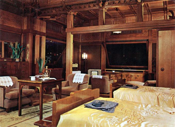 Guest room, Fuijya Miyanoshita Hotel, Hakone, c. 1960.
