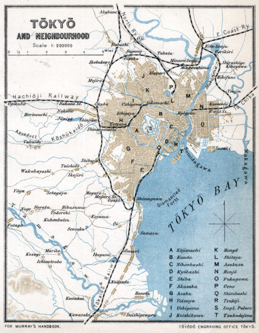Tokyo, 1907. The city limits are shaded brown. Listed are the original 15 wards c. 1886 plus several notable landmarks.
