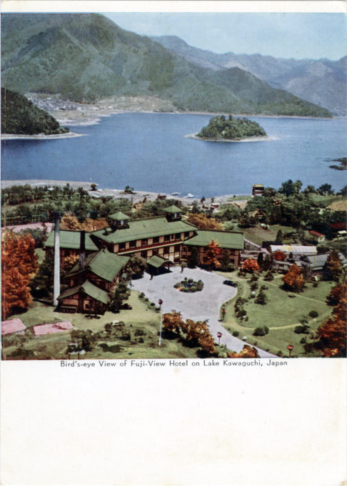 Aerial view, Fuji-View Hotel, Lake Kawaguchi, c. 1955.