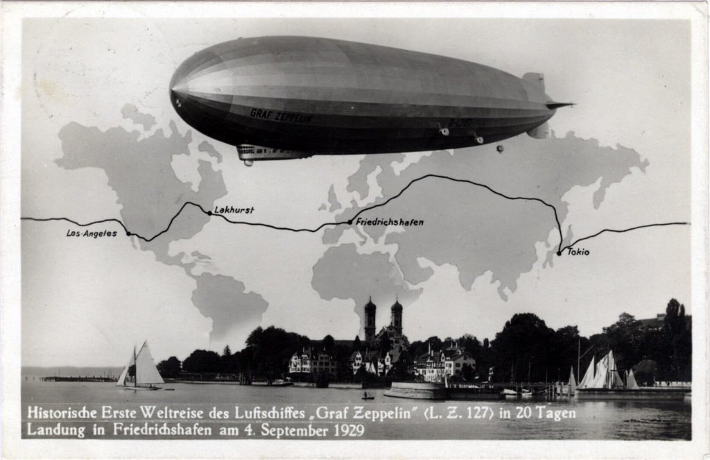 Map depicting the Graf Zeppelin Round-the-world flight, 1929.