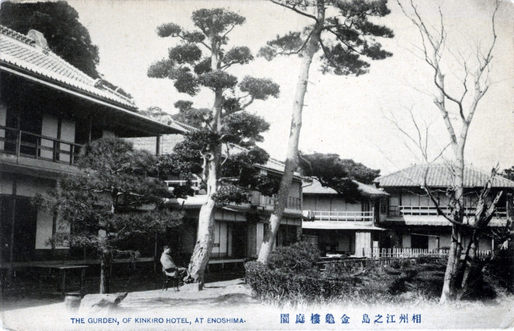 Garden of the Kinkiro Hotel, Enoshima, c. 1910.