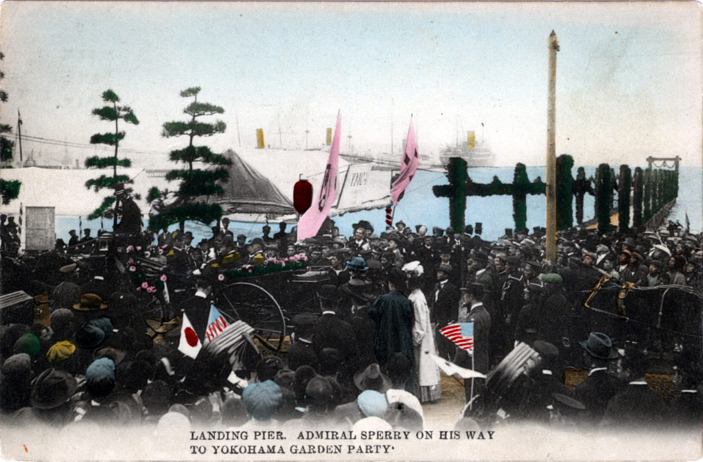 "Admiral Sperry being welcomed ashore, ""Great White Fleet,"" Yokohama, 1908."