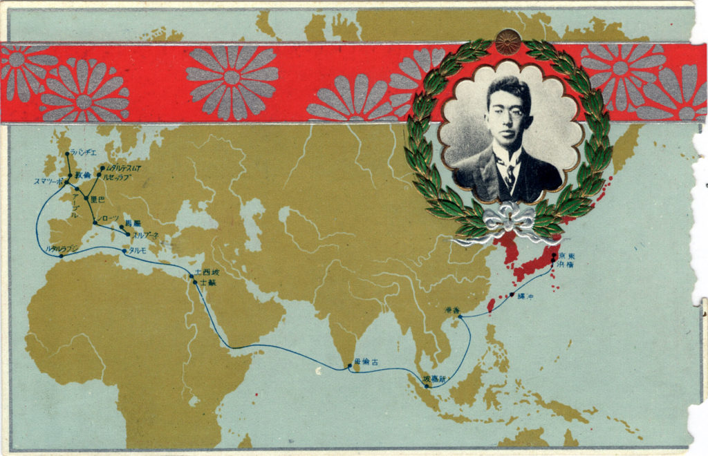 Travel map of Crown Prince Hirohito's voyage to Europe, 1921.