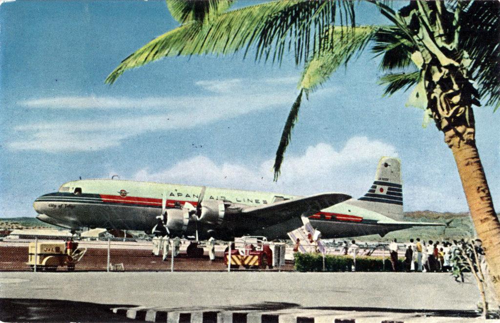 """City of Tokyo"" DC-6B (JAL), Honolulu, 1954."