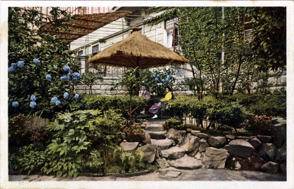 """An idilish corner of the garden,"" Tor Hotel, Kobe, c. 1930."
