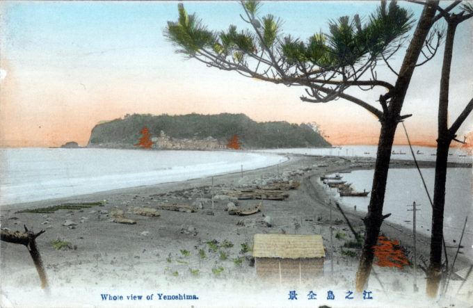 Enoshima at low tide, c. 1910.