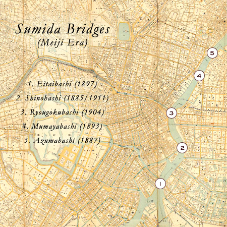 Map: Sumida River bridges (Meiji Era).