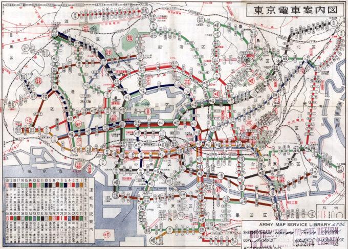 Map: Streetcar, Tokyo, c. 1940.
