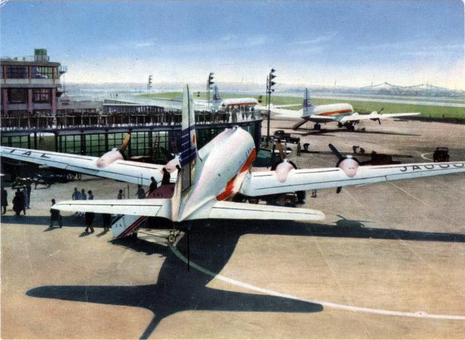 JAL DC-6, Haneda Airport, Tokyo, c. 1960.