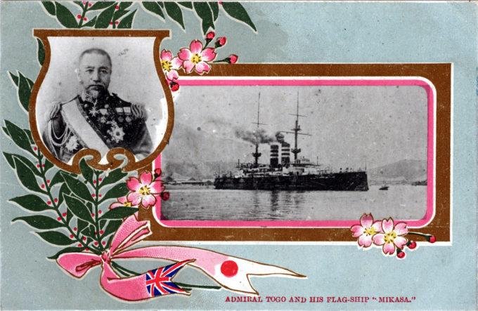 Admiral Togo & the battleship Mikasa, c. 1910.