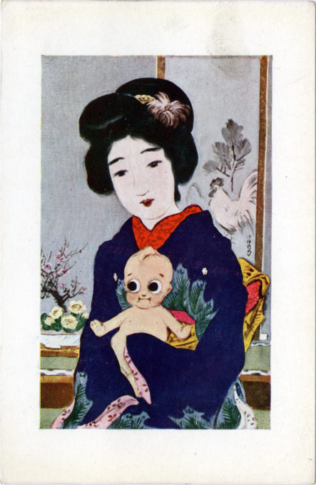 Kewpie doll & Bijin, c. 1920.