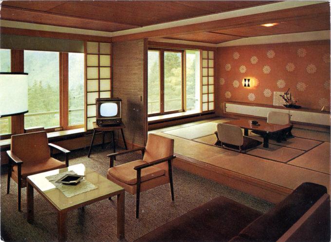 Interior, Hotel Kowaki-en, c. 1960.