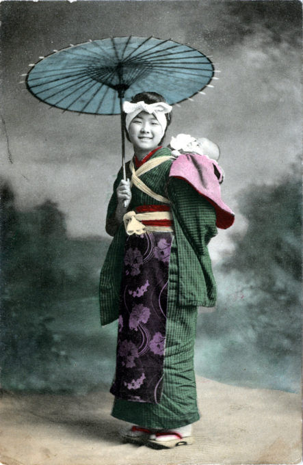 Onnanoko carrying child, c. 1910.