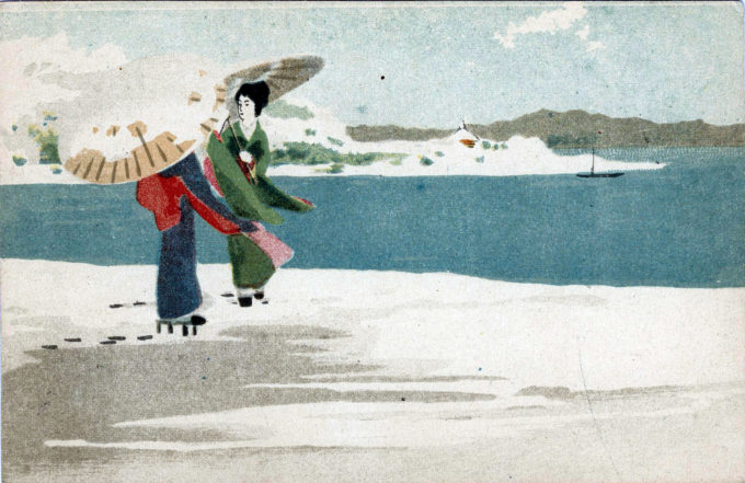 Geisha in <em>geta</em> on a beach, c. 1920. Anonymous artist.